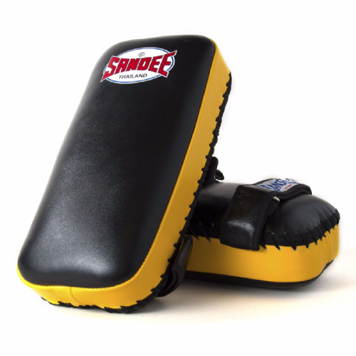 Sandee Straight Thai Kick Pads - Black/Yellow